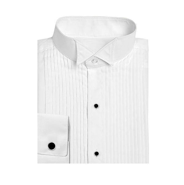 Poly/Cotton Wingtip Pleated Tuxedo Shirt - Mens & Boys