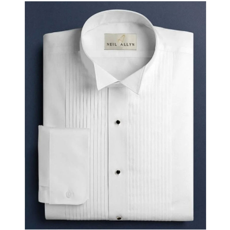 "Mens Slim Fit 1/4"" Pleated Wing Collar Tuxedo Shirt"