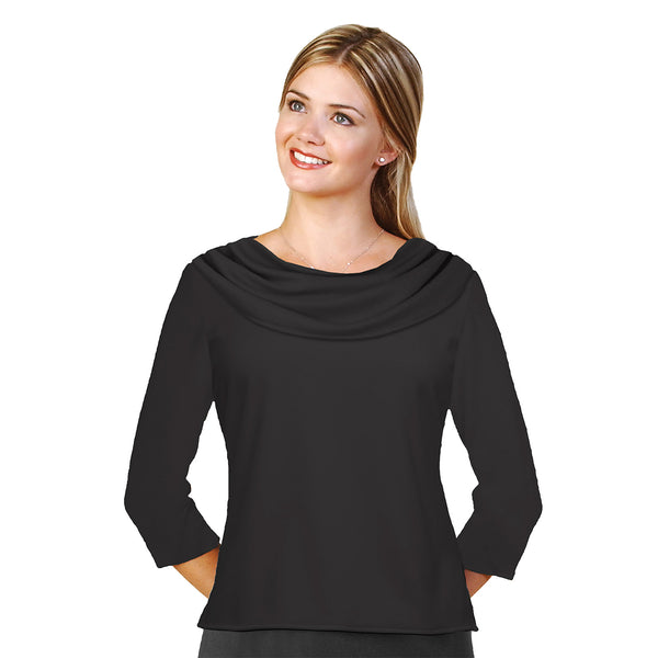 Cowl neckline with 3/4 sleeves Blouse