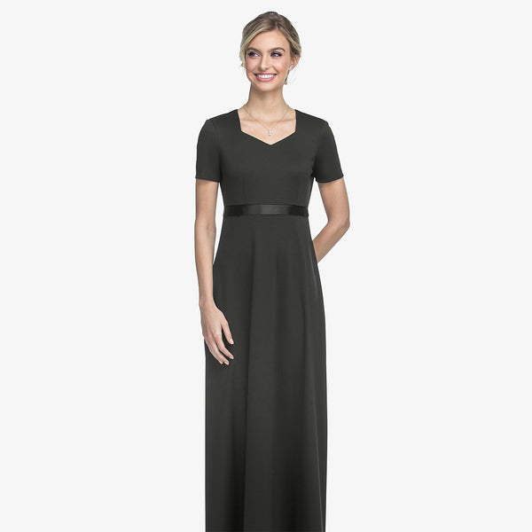 Empire Dress with V Neckline and Cap Sleeves- Adult & Youth