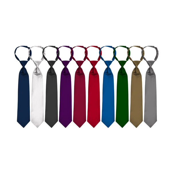 Satin Windsor Banded Neck Ties - Tall, Juniors/Women, Children size - 10 Colors