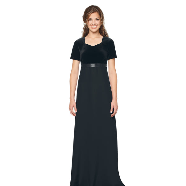 Empire Velvet Softened V Cap Sleeve Dress (Adult & Youth)
