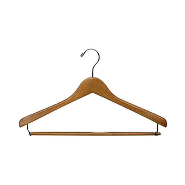 "17"" Premium Wood Hanger w/ Locking Pant Bar"