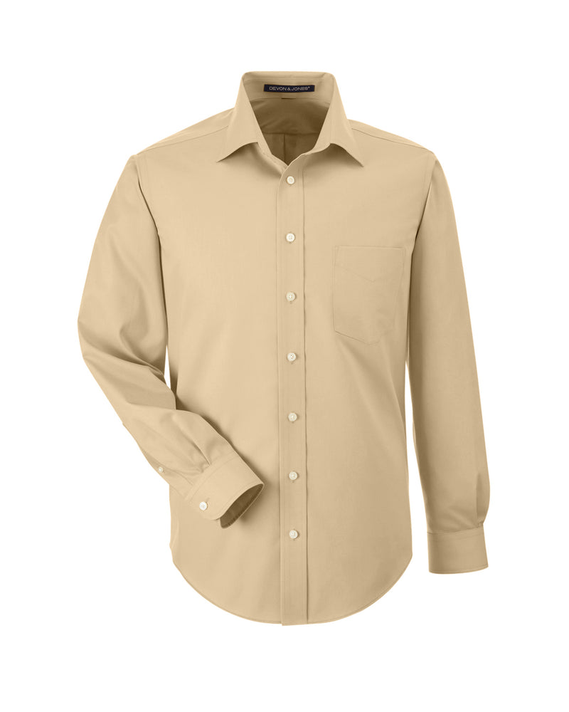 Men's Solid Stretch Twill Shirt in Stone