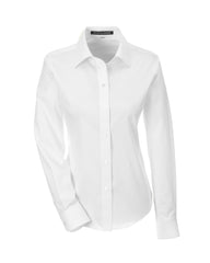 Ladies' Solid Stretch Twill Shirt in White