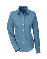 Ladies' Solid Stretch Twill Shirt in Slate Blue