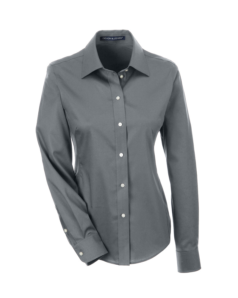 Ladies' Solid Stretch Twill Shirt in Graphite