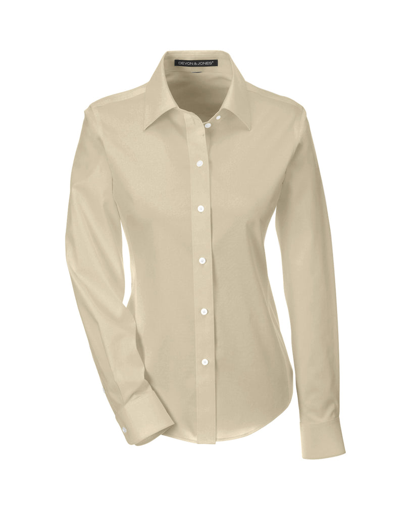 Ladies' Solid Stretch Twill Shirt in Stone