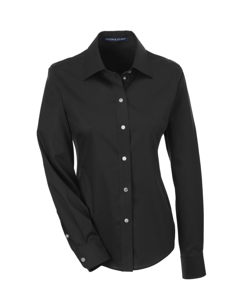 Ladies' Solid Stretch Twill Shirt in Black