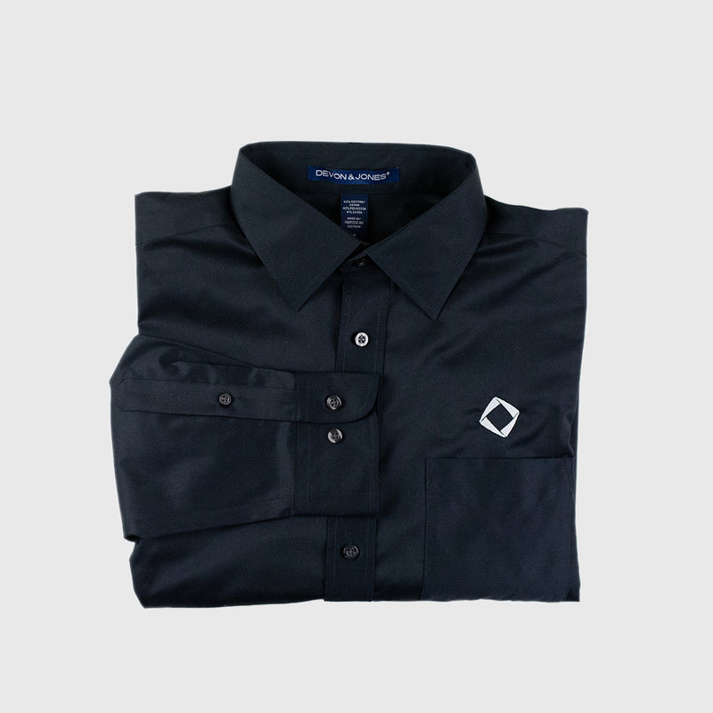 Men's Solid Stretch Twill Shirt in Black