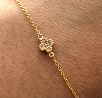 14K Diamond clover and dot lucky charms bracelet