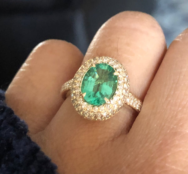 14K Yellow Gold .65 carat Diamond triple halo Emerald ring