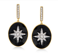 Vintage style 18K Yellow Gold over SS .50 ctw Diamond and Black enamel disc earrings