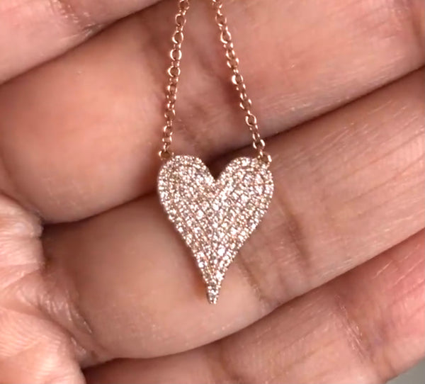 Diamond heart necklace pendant 14K rose Gold F VS pink gold necklace valentines gift birthday gift anniversary gift pave diamond jewelry