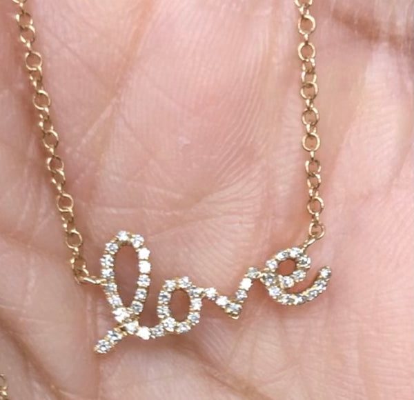 14K Gold Mini Love script necklace