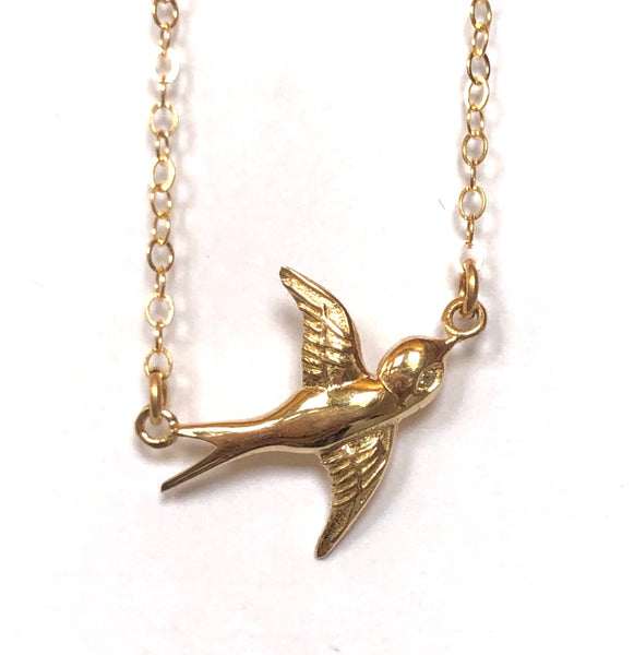 14K Gold Bird Diamond eye necklace Ladybird