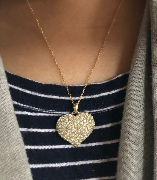 1.74 Ctw Yellow and Champagne Diamond Heart necklace in 10K Yellow Gold