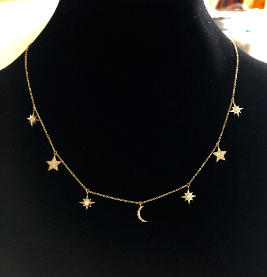 14K Gold and Diamonds Crescent Moon Stars and starburst choker necklace