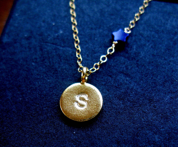 I will reach for the stars unashamed 24K Gold vermeil custom stamped initial and star necklace