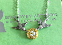 Baby love antiqued silver bird sparrow custom eggs and gold nest white rice pearls necklace personalized customized mommy necklace family