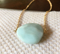 Amazonite jumbo large 14K gold filled necklace chain gemstone jewelry one of a kind