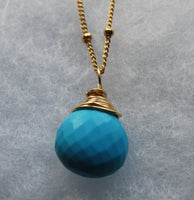 Robins Egg micro faceted turquoise briolette on 14K Satellite bead chain