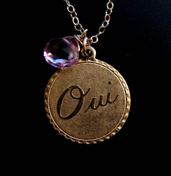 Oui Yes I do 14K GOLD vintage style custom gemstone love necklae