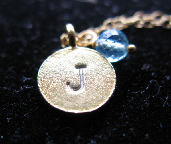 Initially Mine 24K Gold vermeil disc custom Initial hand Stamped disc coin micro faceted aquamarine apatite round birthstone necklace