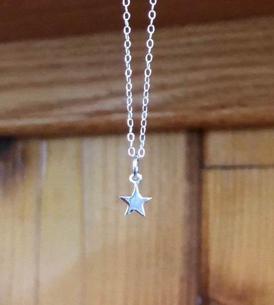 Sterling silver tiny star necklace star pendant star charm christmas gift birthday gifts for her silver star jewelry silver star necklace