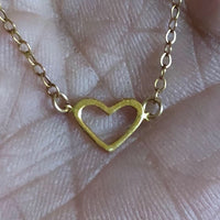 Heart of Gold tiny petite 14K yellow gold heart Gold filled chain vintage upcycled heart necklace