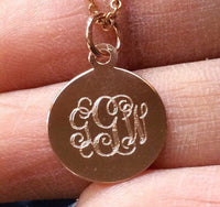 14K Rose Gold monogram initials initial id mommy teen circle script customized personalized necklaceckle