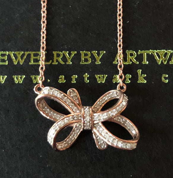 diamond bow necklace Rose Gold over sterling silver diamond bow pendant valentines gift