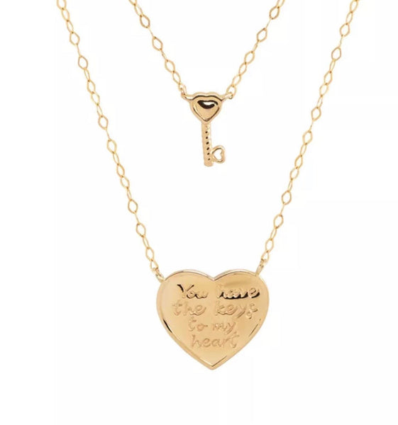 14K Yellow Gold heart enraved key layering necklace 2 layer necklace you have the keys to my heart necklace key charm heart pendant jewelry