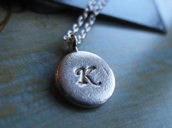 Elegant Initial Sterling silver fine silver custom initial hand stamped disc necklace a b c d e f g h i j k l m n o p q r s t u v w x y z
