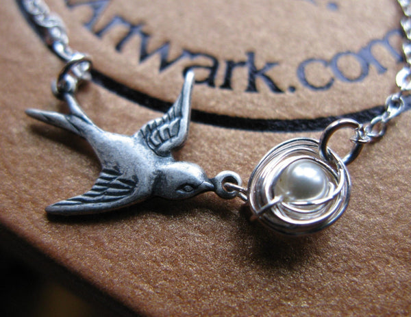 Mothers love III New Mommy silver oxidized bird hand woven nest with one swarovski pearl egg custom necklace