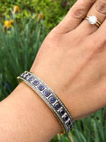 Blue Sapphire rosecut diamond bangle beacelet sterling silver 14K Gold