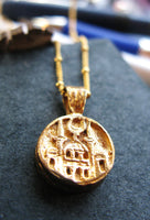 Hajj 24K Gold vermeil or sterling silver holy city pendant coin necklace on beaded chain