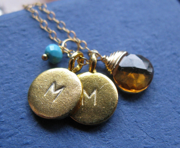 Mamas family 24K Gold vermeil discs custom handstamped initials with birthstones Mothers day gift