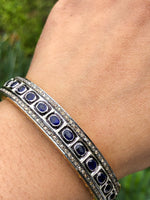 Diamond polki bangle custom made custom size emerald ruby blue sapphire precious gemstone bangles personalized Sterling silver Gold