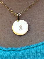 22K Solid yellow Gold high carat hand stamped initial pendant necklace charm jewelry