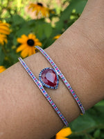 Ruby 5 carat pear shape 1 carat accent ruby blue sapphire halo double row cuff bracelet custom jewelry sterling silver custom