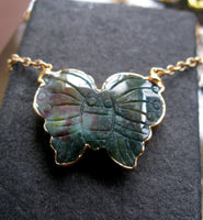 24K Gold rimmed Agate butterfly one of a kind necklace