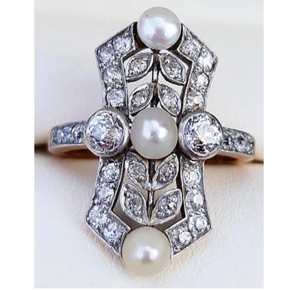 Antique astro hungarian old cut diamond and pearl ring size 6 silver topped 14K Gold .75 carat diamonds