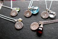 Initially Mine sterling silver custom hand stamped disc coin necklace with birthstone