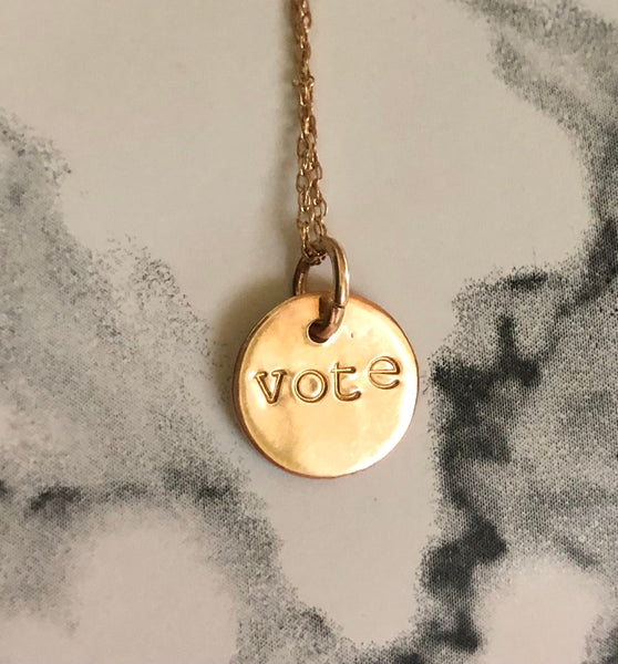 Vote necklace 22K Solid Yellow Gold pendant handstamped 10K Chain