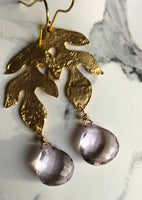 Gorgeous basket cut pink topaz Gilded Gold plated lead charm earrings