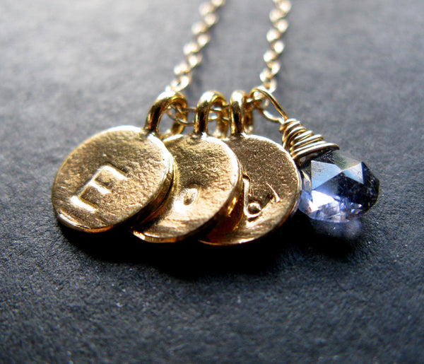 Totally You 24K Gold vermeil disc trio necklace with handstamped initial zodiac sign and number with birthstone necklace