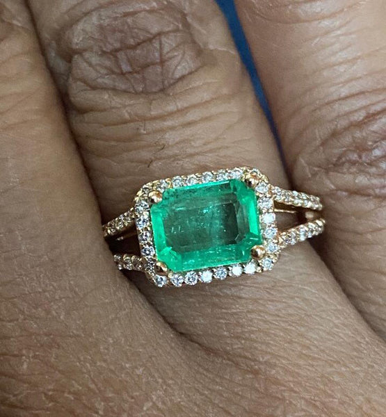 2 ctw. columbian Emerald diamond halo ring