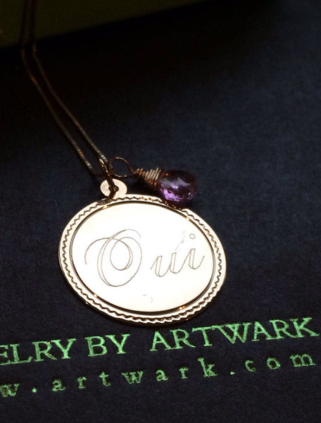 14K solid gold large Oui yes I do disc coin customized polished french romance francaise romantique pink topaz pendant necklace