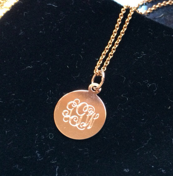 14K Solid Gold monogram necklace custom initial necklace Rose Gold Yellow Gold White Gold personalized jewelry